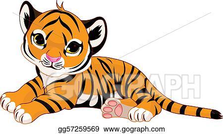 clip art vector little tiger cub resting stock eps gg57259569 rh gograph com tiger cub clip art black and white white tiger cub clipart