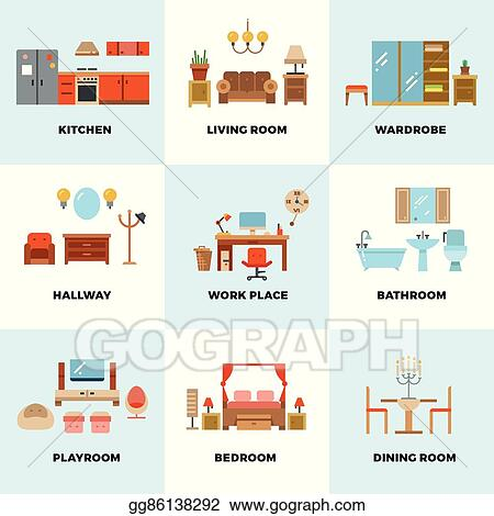 Vector Art Living Room Bedroom Kitchen Kids Bathroom