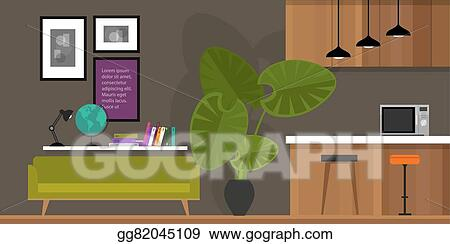Vector Art Living Room Home Interior Kitchen Eps Clipart Gg82045109 Gograph