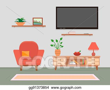 Vector Stock Living Room Interior With Armchair And Furniture