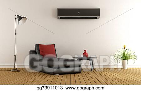 Genial Living Room With Air Conditioner