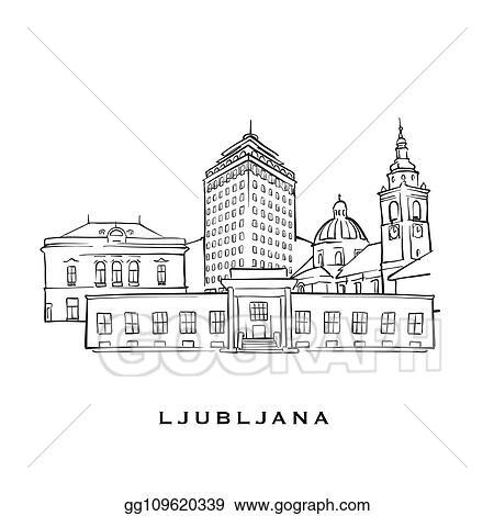 Vector Illustration - Ljubljana slovenia famous architecture