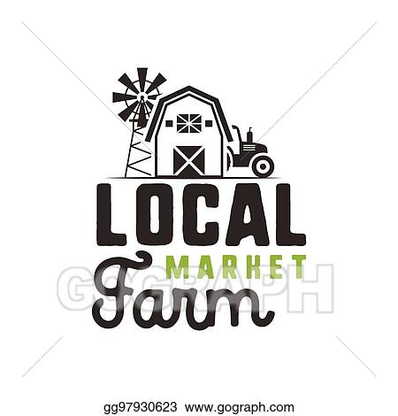 stock illustrations local farm market logo design and label
