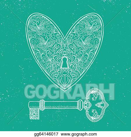 Eps Illustration Locked Heart And Key On Emerald Green