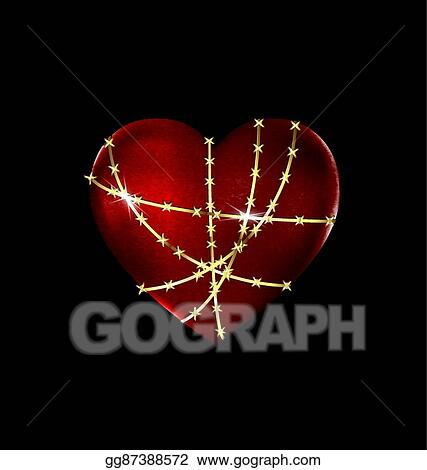 Eps Vector Locked Solid Heart Stock Clipart Illustration