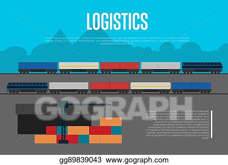 Vector Illustration - Logistics banner with freight train
