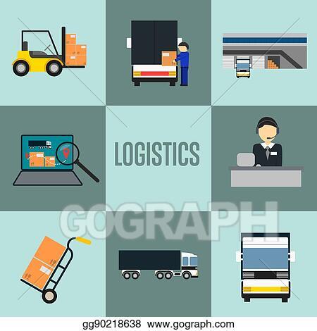 EPS Vector - Logistics company and warehouse icon set  Stock Clipart