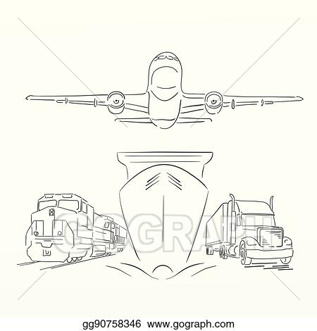 Vector Stock - Logistics sign with plane, truck, container