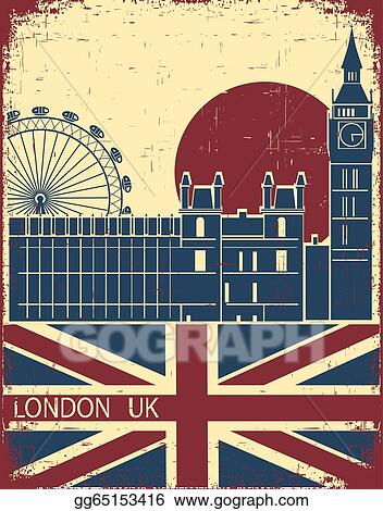 London LandmarkVintage Background With England Flag On Old Paper Texture For Text