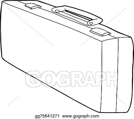 EPS Vector , Long suitcase outline. Stock Clipart