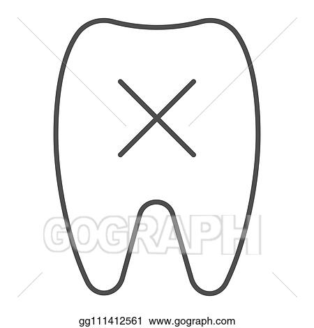 EPS Vector - Loose tooth thin line icon  missing tooth vector
