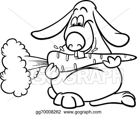 Clip Art Vector  Lop rabbit with carrot coloring page Stock EPS