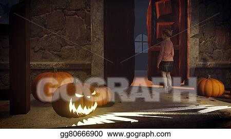 Lost girl on the doorstep of the creepy house & Clipart - Lost girl on the doorstep of the creepy house. Stock ...