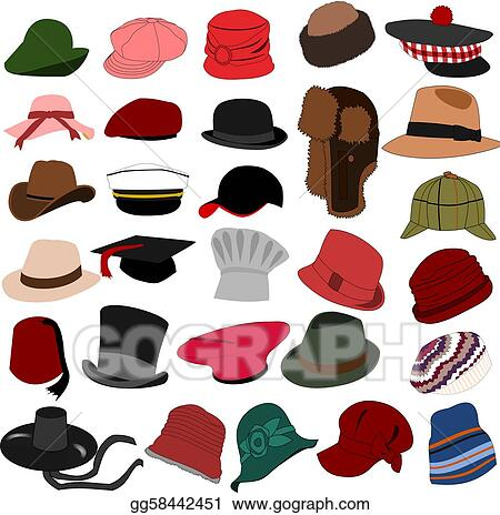 4217491e4aecf Vector Stock - Lots of hats set 04. Clipart Illustration gg58442451 ...