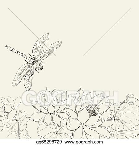 Stock Illustration Lotus Flower And Dragonfly Clipart Drawing