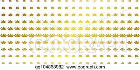 Vector Illustration Lotus Flower Gold Halftone Grid Stock Clip
