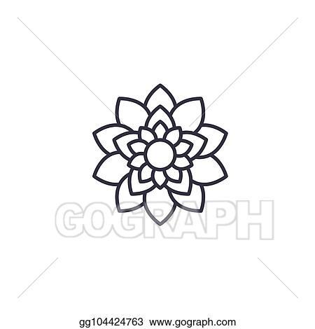 Eps Vector Lotus Flower Line Icon Concept Lotus Flower Flat