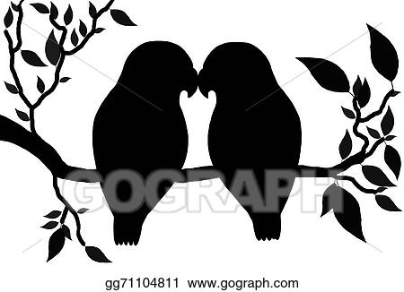 Line Art Of Birds : Drawing love birds clipart gg gograph