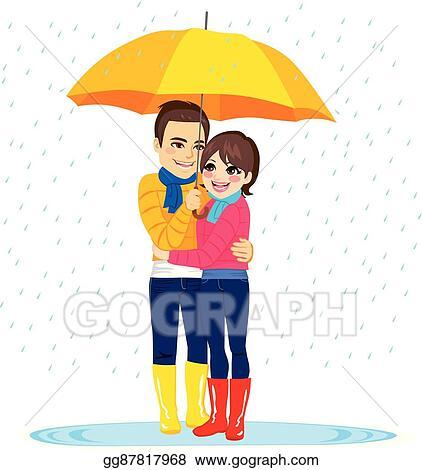 Eps Vector Love Couple Under Rain Stock Clipart Illustration