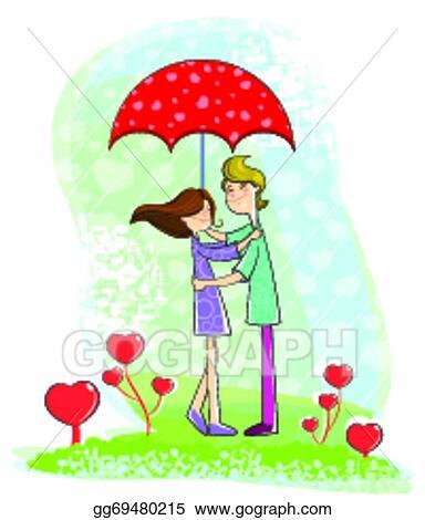 Vector Clipart Love Couple Under Umbrella Vector Illustration