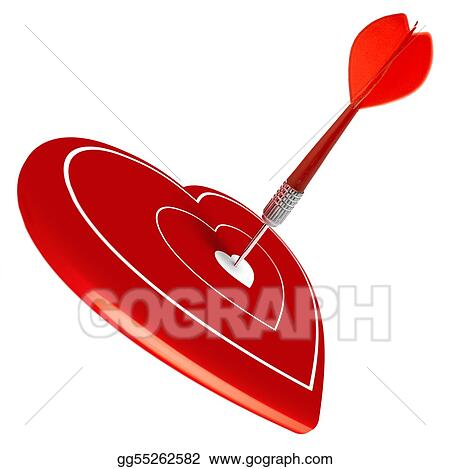 Drawing Love Dart Hitting The Center Of A Heart Valentine S Day
