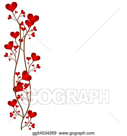 Drawing - Love flower frame. Clipart Drawing gg54534269 - GoGraph