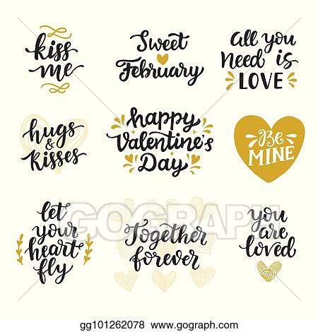 Vector Stock Love Hand Drawn Quotes Collection Clipart