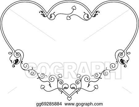 Vector Illustration - Love, heart frame border design. EPS Clipart ...
