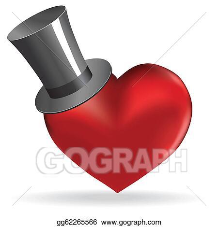 Clip Art Vector Love Heart In Hat Valentine Cute Background Stock