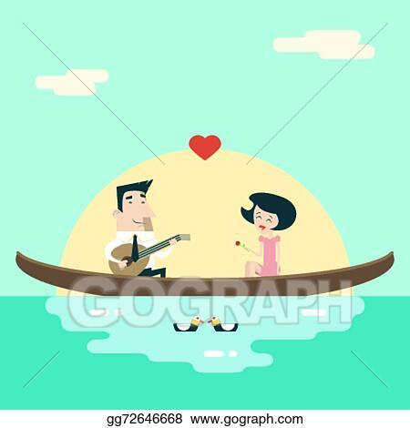 Vector Art Love Male And Female On Gondola Cartoon Characters