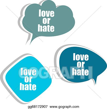 Clip Art - Love or hate word on modern banner design template. set ...
