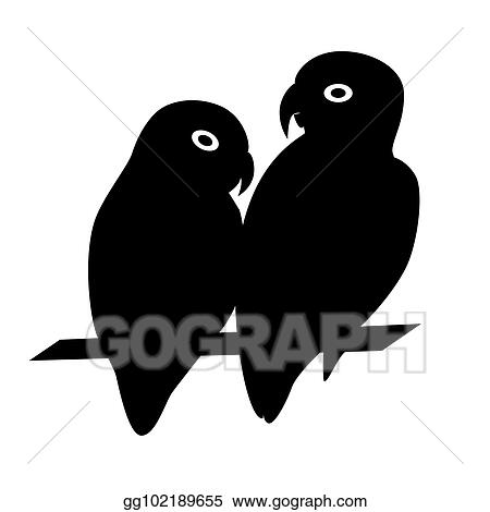 Vector Stock - Lovebird parrots silhouette icon in flat