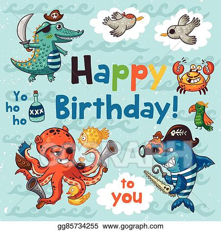 Eps Illustration Lovely Happy Birthday Card With Pirates Vector