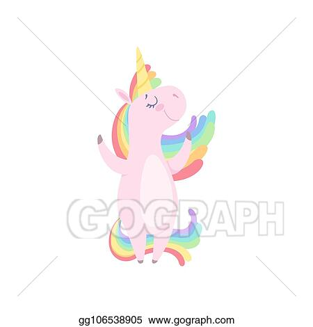 Clip Art Vector Lovely Unicorn Standing On Two Legs Cute