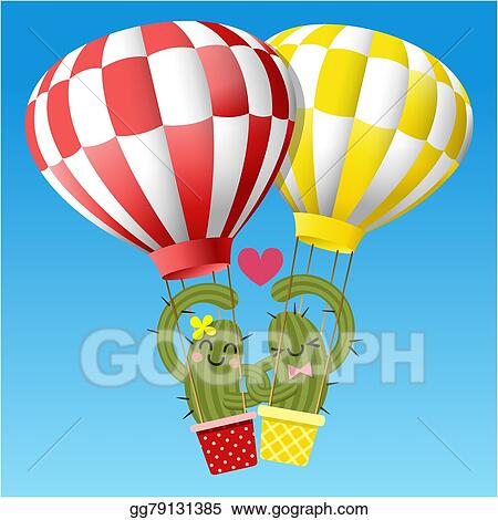 Clip Art Vector Loving Couple Of Cactus Arm In Arm With Hot Air