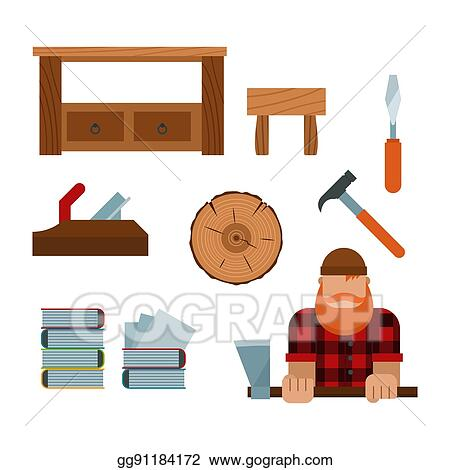 Vector Illustration Lumberjack And Woodworking Tools Icons