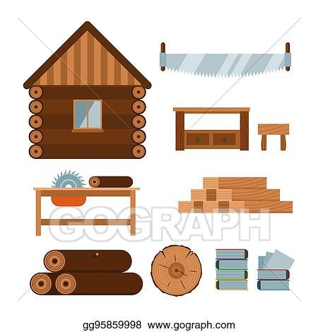 Clip Art Vector Lumberjack Woodworking Tools Icons Vector