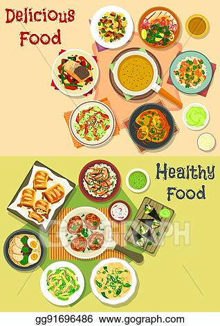 Lunch Meals Icon Set For Food Theme Design