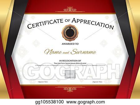 Clip Art Vector Luxury Certificate Template With Elegant Golden