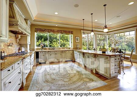 Stock Images - Luxury house interior. antique kitchen ...