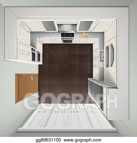 Eps Vector Luxury Kitchen Top View Realistic Image Stock Clipart