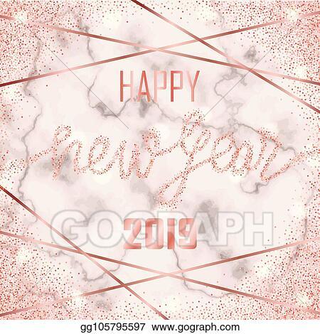 luxury pink gold glitter happy new year 2019