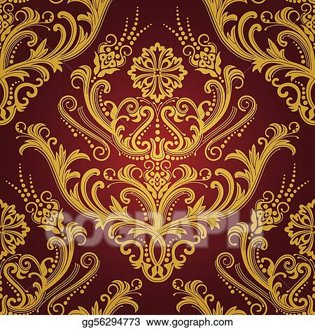 Luxury Red Gold Floral Wallpaper