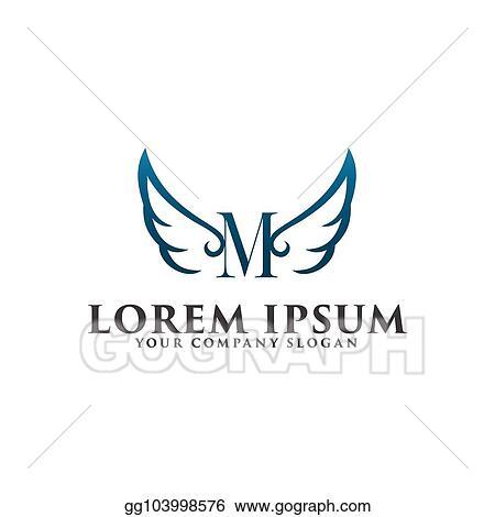 vector illustration luxury wings letter m logo design concept