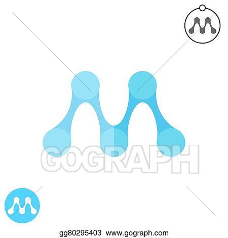 Clipart M Letter Molecule Logo Conception Stock Illustration