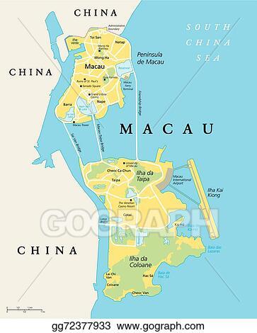 Clip Art Vector Macau Political Map Stock EPS Gg GoGraph - China political map in english