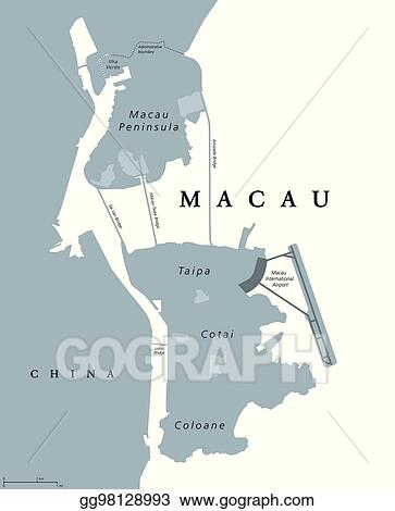 Macau On World Map.Vector Clipart Macau Political Map Vector Illustration Gg98128993