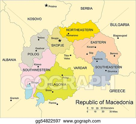 Vector clipart macedonia administrative districts capitals and vector clipart macedonia editable vector map broken down by administrative districts includes surrounding countries in color with cities district names publicscrutiny Image collections