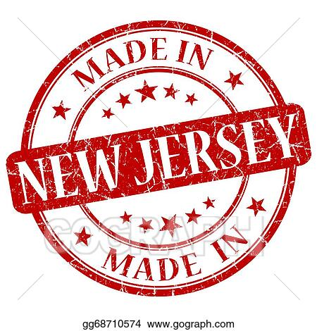 Made In New Jersey Red Round Grunge Isolated Stamp
