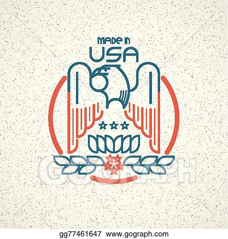 Clip Art Vector Made In The Usa Symbol With American Flag And
